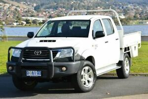 2015 Toyota Hilux KUN26R MY14 SR Double Cab White 5 Speed Manual Cab Chassis Derwent Park Glenorchy Area Preview