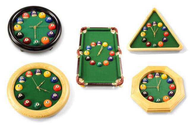 Novelty Billiard Table Clock, Round Pool Ball Clocks or Triangular Pool Clock