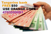 Free Tangerine Bank account with $50 bonus