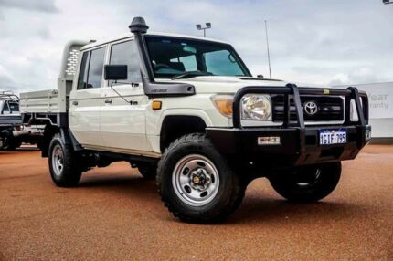 2013 Toyota Landcruiser VDJ79R MY13 Workmate Double Cab White 5 Speed Manual Cab Chassis