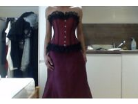 Dark red/burgundy corset and skirt medium size