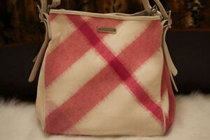 Burberry Large Ikat Check Tote Bag in White & Pink