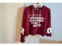 Burgundy Red Crop Sweater Teen Stradivarius Hoodie Red
