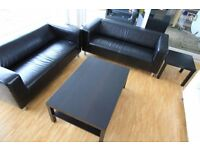 BLACK DFS REAL LEATHER 2 X 2 SOFAS CAN DELIVER FREEE
