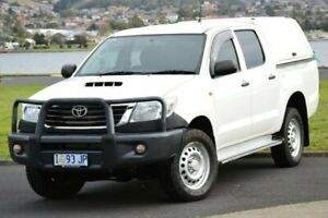 2015 Toyota Hilux KUN26R MY14 SR Double Cab White 5 Speed Automatic Utility Derwent Park Glenorchy Area Preview