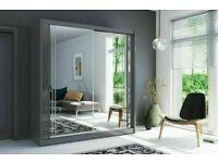 💥💯 BEST BUY 2/3 DOORS SLIDING WARDROBE WITH FULL MIRRORS ALL SHELVES & RAILS INCLUDED