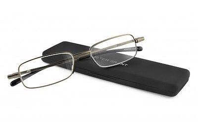 Foster Grant Gavin Gun Flat Folding Reading Glasses +1.25