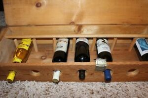 solid wood work wine rack that holds 7 bottles