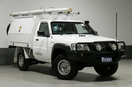 2013 Nissan Patrol MY11 Upgrade DX (4x4) White 5 Speed Manual Leaf Cab Chassis Bentley Canning Area Preview
