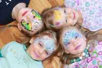 Birthday Face painting, princess, clown, crafts, glitter tattoo