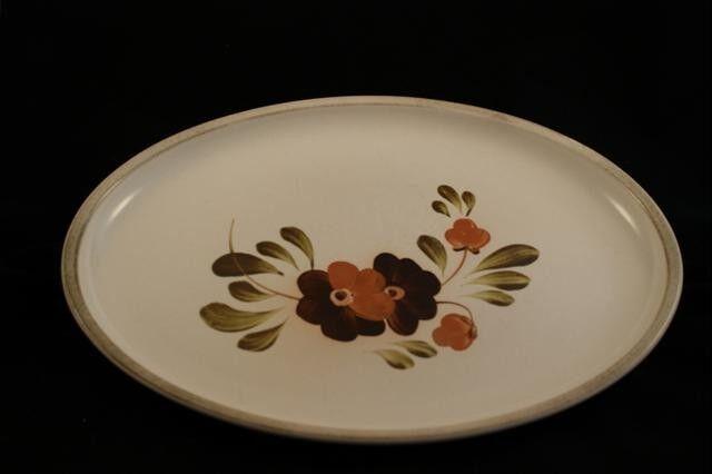 Lot of 2 Denby Serenade Older Version Pattern Oval Serving Stoneware Platters