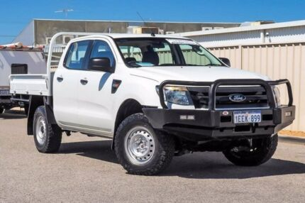 2012 Ford Ranger PX XL Double Cab White 6 Speed Manual Cab Chassis Wangara Wanneroo Area Preview