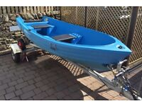 Pioner 10ft Boat with oars + trailer/ launching trolly + Honda 2.3 hp outboard engine - package