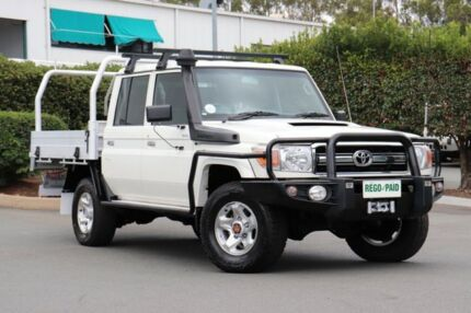 2014 Toyota Landcruiser VDJ79R GXL Double Cab White 5 Speed Manual Cab Chassis Acacia Ridge Brisbane South West Preview