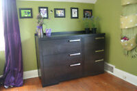 Solid wood (AP Industries) Dresser, Double bed and Crib.