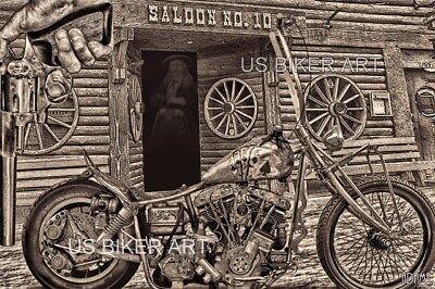 HARLEY DAVIDSON MOTORCYCLE DEADWOOD 10 SALOON STURGIS CHOPPER BIKER ART PRINT
