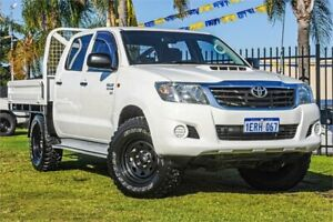 2015 Toyota Hilux KUN26R MY14 SR Double Cab White 5 Speed Automatic Cab Chassis Wangara Wanneroo Area Preview