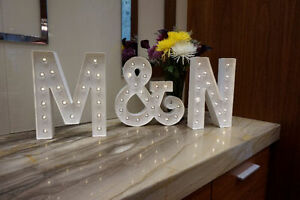 """White Marquee Letters in """"&"""" and """"N"""""""