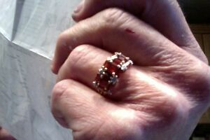 Garnet, diamond - pearl , diamond rings size 8