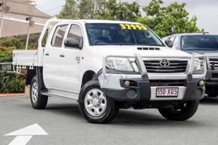 2013 Toyota Hilux KUN26R MY12 SR Double Cab Glacier White 5 Speed Manual Cab Chassis