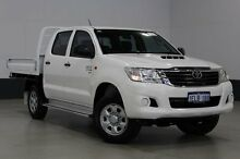 2013 Toyota Hilux KUN26R MY12 SR (4x4) White 5 Speed Manual Dual Cab Chassis Bentley Canning Area Preview