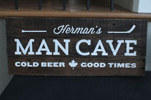 Vintage Style Wooden Man Cave Sign w/ Custom Lettering