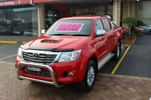 2014 Toyota Hilux KUN26R MY14 SR5 (4x4) Red 5 Speed Automatic Dual Cab Pick-up Taylors Beach Port Stephens Area Preview