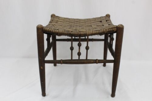 RARE 1800 Aesthetic Liberty & Co. THEBES Foot Stool, ca 1870-1900, bamboo/rattan