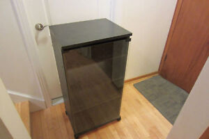 Audio stand black,glass door,5 shelves,good shape.514-996-9207