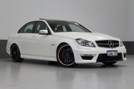 2012 Mercedes-Benz C63 W204 MY12 AMG Pearl White 7 Speed Automatic G-Tronic Sedan Bentley Canning Area Preview