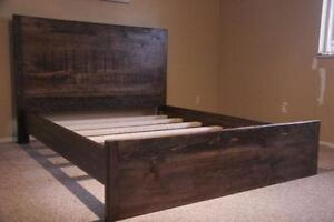 RUSTIC BED  Queen/king  Dark walnut
