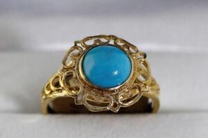 NEW ITALIAN GOLD FILIGREE FINISH TURQUOISE LADY'S RING FOR SALE