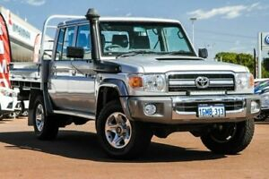 2015 Toyota Landcruiser VDJ79R GXL Double Cab Silver 5 Speed Manual Cab Chassis