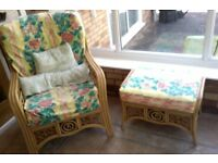 2 chairs a table and stool