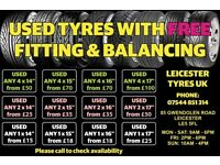 "Top Quality Pressure Tested Part Worn Tyres- All Sizes Available (from 13"" to 20"") (4mm to 8mm)"