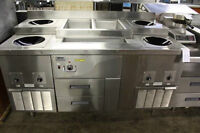 S.S. 4 POT INDUCTION TBL. W/ 2 WELL STM,  2 DRAWER COOLER