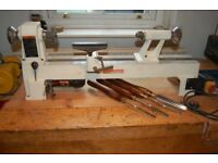 Axminster Wood Turning Lathe M 330 Bench mounted and 4 Turning Tools. Very little used.