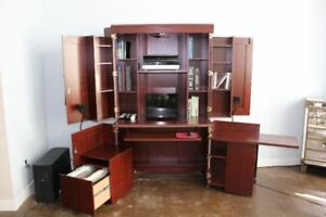 Solid Wood Armoire/Desk L-Shaped with lights and storage