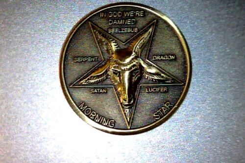 "Lucifer Morning Star - Fast delivery in USA, 1 1/4"" Solid Brass 3D  Coin 31.75MM"