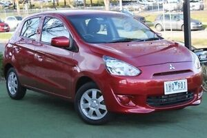 2014 Mitsubishi Mirage LA MY15 ES Red 1 Speed Constant Variable Hatchback Berwick Casey Area Preview