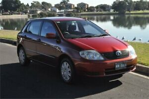 2004 Toyota Corolla ZZE122R Ascent Seca Maroon 5 Speed Manual Hatchback Five Dock Canada Bay Area Preview