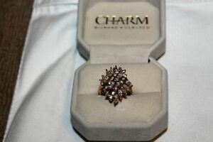 Ladies 14K Yellow Gold Over 925 Silver Dinner Ring