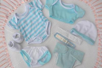 "PJs ❤️ BERENGUER LA NEWBORN ❤️ STRIPE CLOTHES LAYETTE FOR 14"" BABY BOY DOLL NEW"