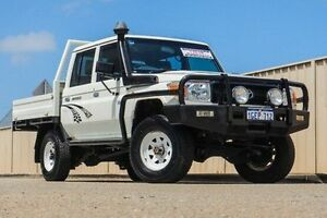 2013 Toyota Landcruiser VDJ79R MY13 Workmate Double Cab White 5 Speed Manual Cab Chassis Pearsall Wanneroo Area Preview