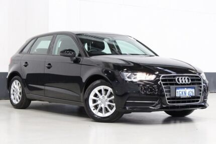 2016 Audi A3 8V MY16 S/Back 1.4 TFSI Attraction CoD Black 7 Speed Auto Direct Shift Hatchback