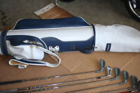 golf club, bag, pull cart and accessories