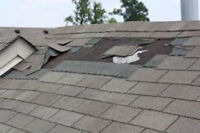 Roof repairs and re-shingling. Emergency repairs to damaged roof