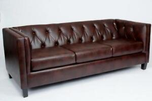 BROWN LEATHER SOFA ON SALE  - Upto 50% off (ND 94)