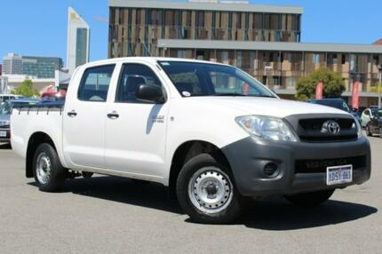 2011 Toyota Hilux TGN16R MY12 Workmate Double Cab Glacier White 5 Speed Manual Utility
