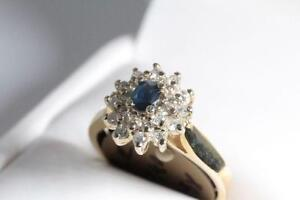 BRAND NEW GENUINE DIAMONDS & BLUE SAPPHIRE LADY'S RING 70% OFF